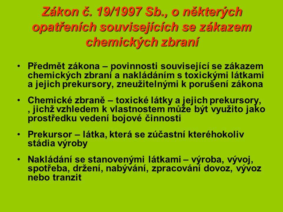 Zákon č. 19/1997 Sb., o některých opatřeních souvisejících se zákazem chemických zbraní Předmět zákona – povinnosti související se zákazem chemických