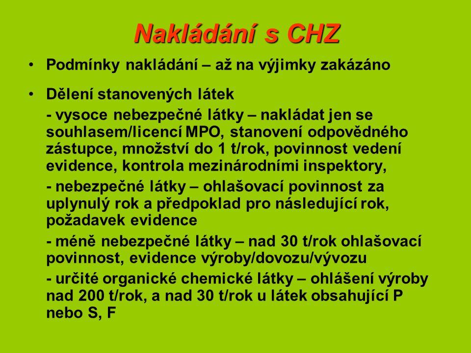Nakládání s CHZ Podmínky nakládání – až na výjimky zakázáno Dělení stanovených látek - vysoce nebezpečné látky – nakládat jen se souhlasem/licencí MPO