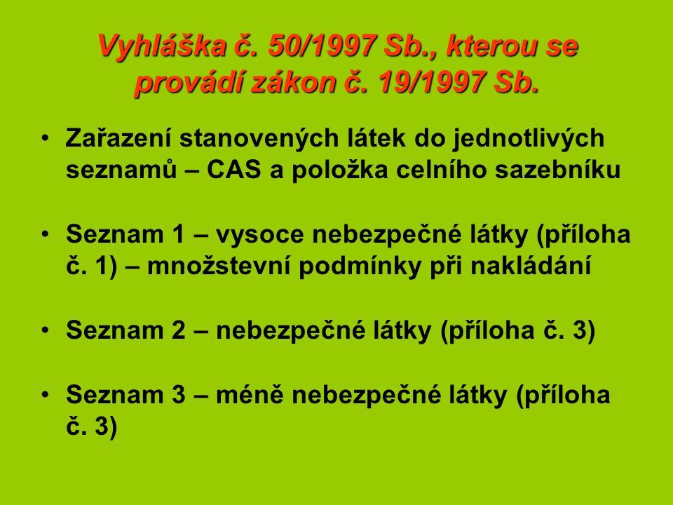 Vyhláška č. 50/1997 Sb., kterou se provádí zákon č. 19/1997 Sb. Zařazení stanovených látek do jednotlivých seznamů – CAS a položka celního sazebníku S