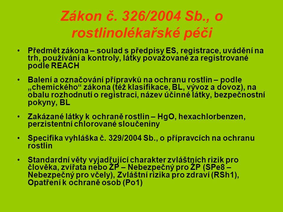 Zákon č. 326/2004 Sb., o rostlinolékařské péči Předmět zákona – soulad s předpisy ES, registrace, uvádění na trh, používání a kontroly, látky považova