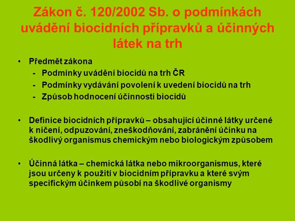 Zákon č. 120/2002 Sb. o podmínkách uvádění biocidních přípravků a účinných látek na trh Předmět zákona -Podmínky uvádění biocidů na trh ČR -Podmínky v