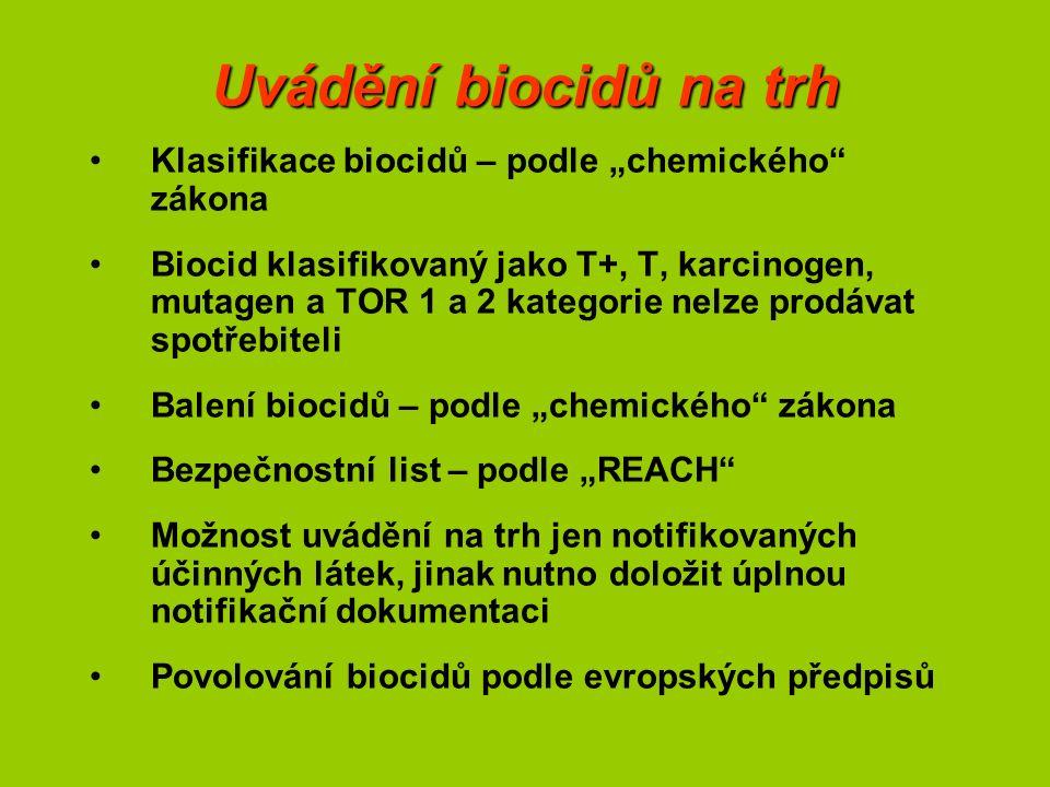 """Uvádění biocidů na trh Klasifikace biocidů – podle """"chemického"""" zákona Biocid klasifikovaný jako T+, T, karcinogen, mutagen a TOR 1 a 2 kategorie nelz"""