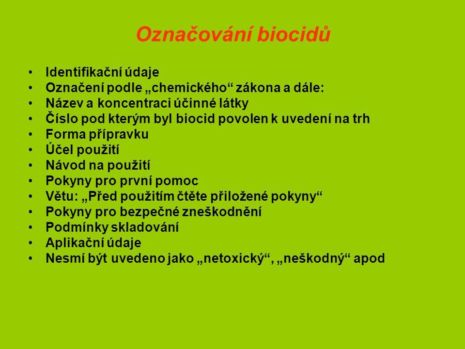 Postup schvalování biocidů Vychází ze směrnice 98/8/ES – do roku 2009 sjednotit legislativní kroky, vyhláška č.