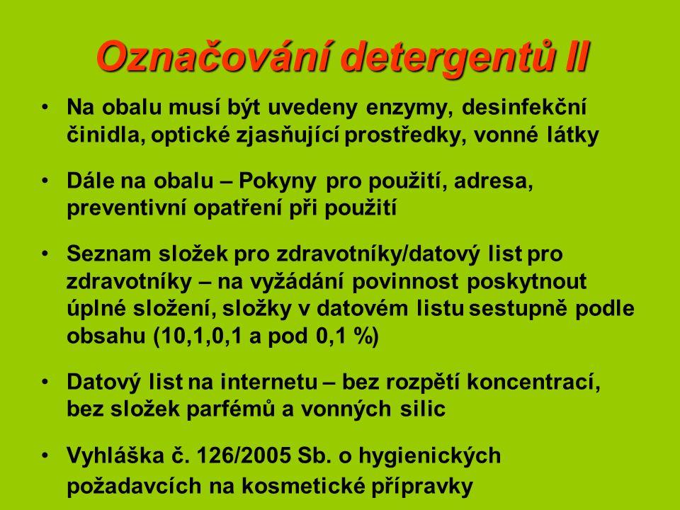 Označování detergentů II Na obalu musí být uvedeny enzymy, desinfekční činidla, optické zjasňující prostředky, vonné látky Dále na obalu – Pokyny pro