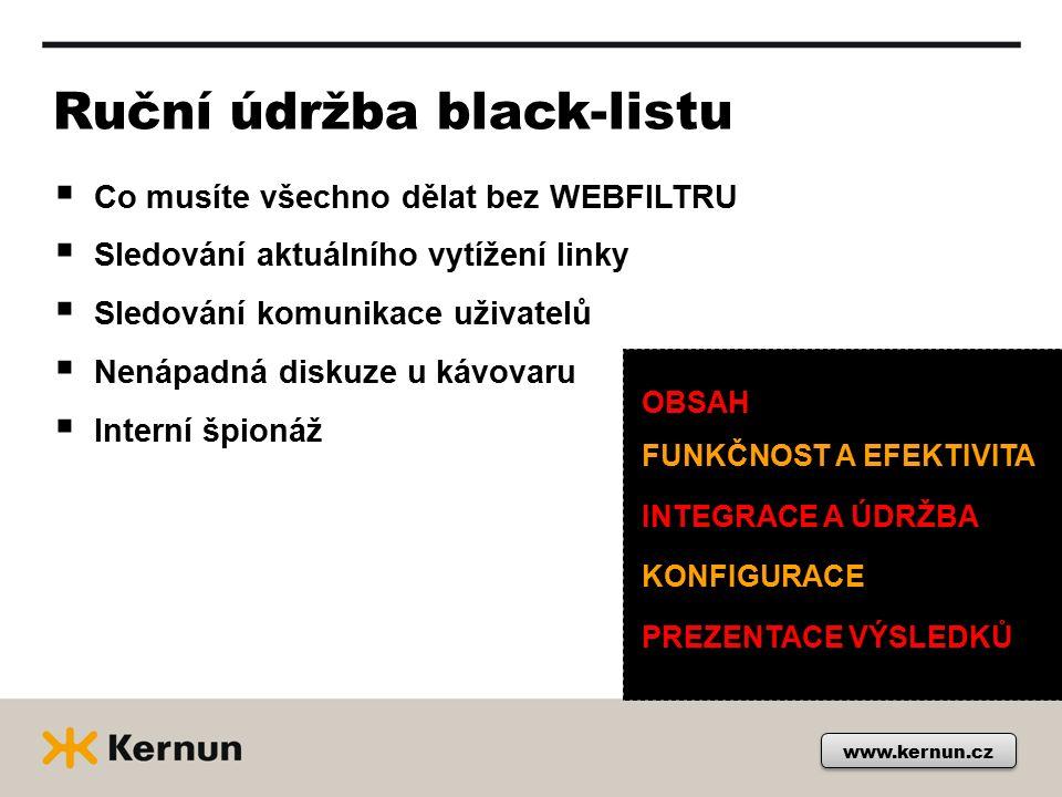 www.kernun.cz Ruční údržba black-listu  Co musíte všechno dělat bez WEBFILTRU  Sledování aktuálního vytížení linky  Sledování komunikace uživatelů  Nenápadná diskuze u kávovaru  Interní špionáž OBSAH FUNKČNOST A EFEKTIVITA INTEGRACE A ÚDRŽBA KONFIGURACE PREZENTACE VÝSLEDKŮ