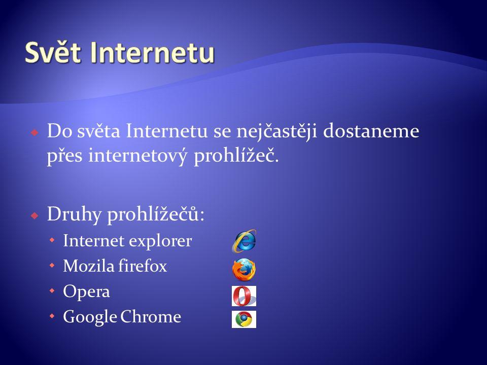  Do světa Internetu se nejčastěji dostaneme přes internetový prohlížeč.