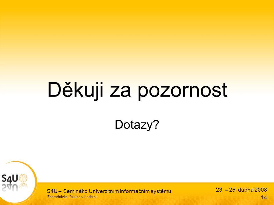 Zahradnická fakulta v Lednici S4U – Seminář o Univerzitním informačním systému 14 23.