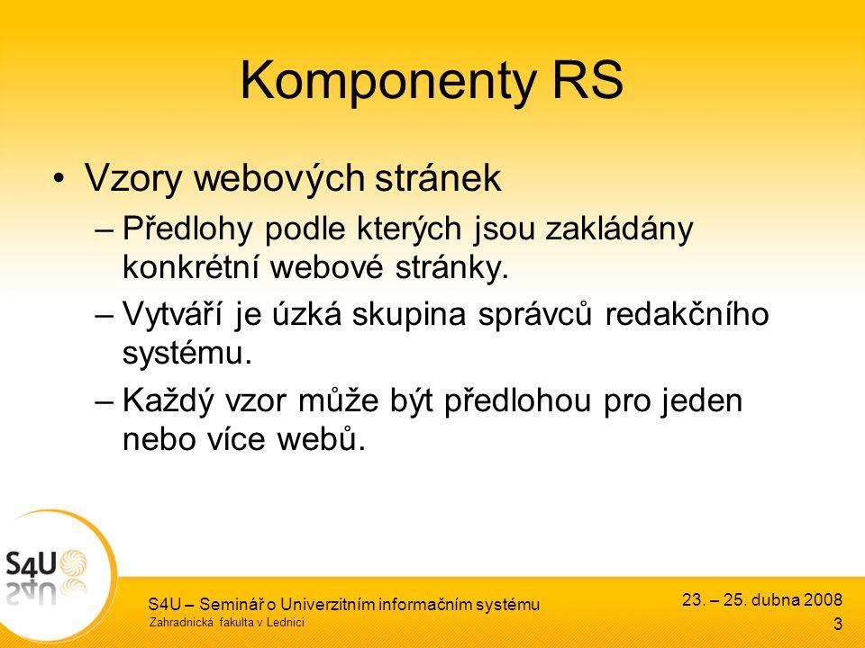 Zahradnická fakulta v Lednici S4U – Seminář o Univerzitním informačním systému Komponenty RS Vzory webových stránek –Předlohy podle kterých jsou zakládány konkrétní webové stránky.