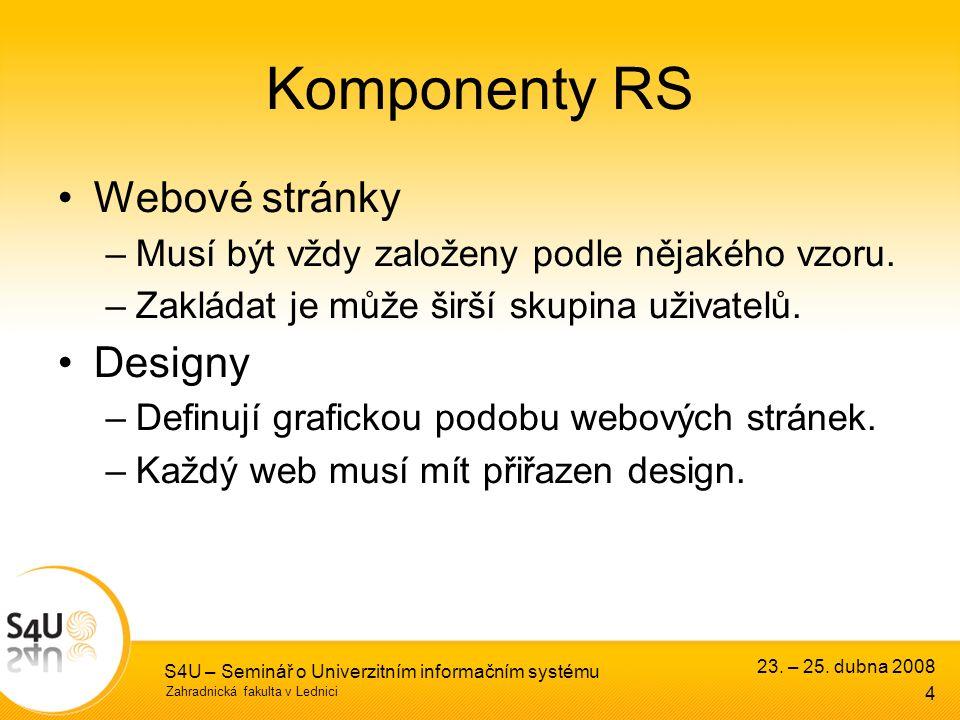Zahradnická fakulta v Lednici S4U – Seminář o Univerzitním informačním systému Komponenty RS Webové stránky –Musí být vždy založeny podle nějakého vzoru.