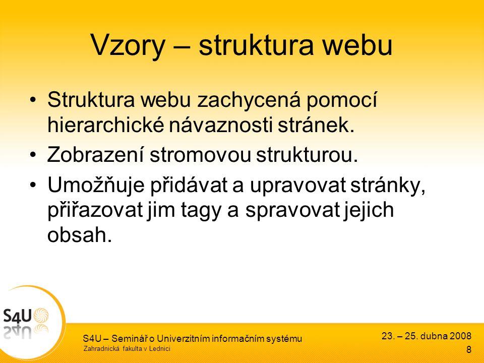 Zahradnická fakulta v Lednici S4U – Seminář o Univerzitním informačním systému Vzory – struktura webu Struktura webu zachycená pomocí hierarchické návaznosti stránek.