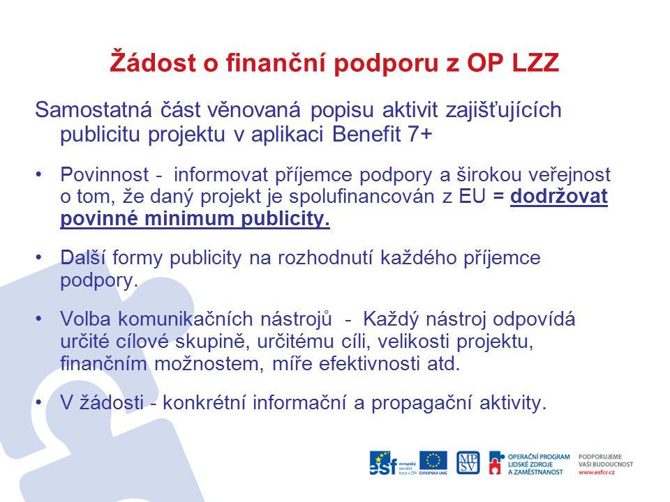 Žádost o finanční podporu z OP LZZ Samostatná část věnovaná popisu aktivit zajišťujících publicitu projektu v aplikaci Benefit 7+ Povinnost - informovat příjemce podpory a širokou veřejnost o tom, že daný projekt je spolufinancován z EU = dodržovat povinné minimum publicity.