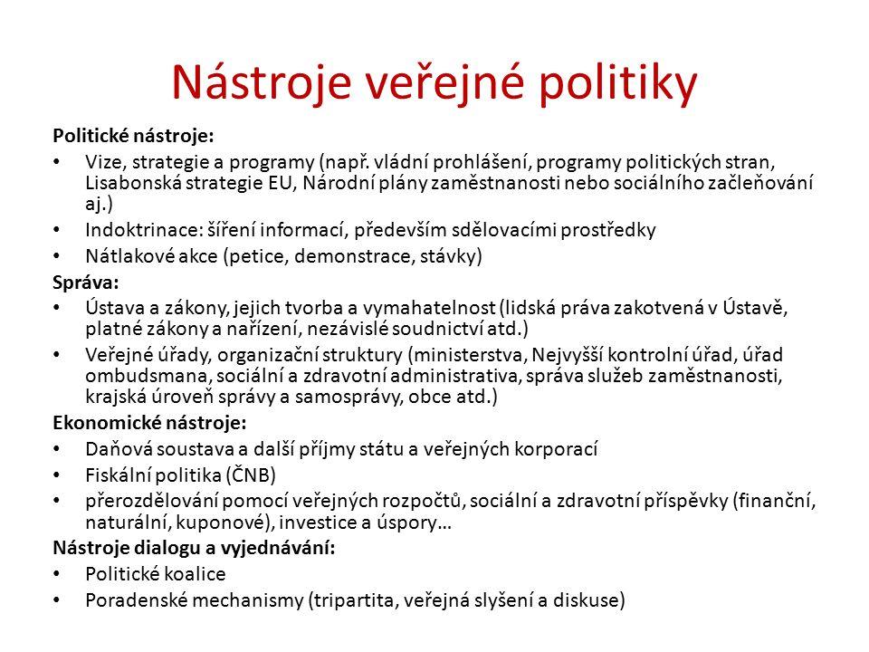 Nástroje veřejné politiky Politické nástroje: Vize, strategie a programy (např.