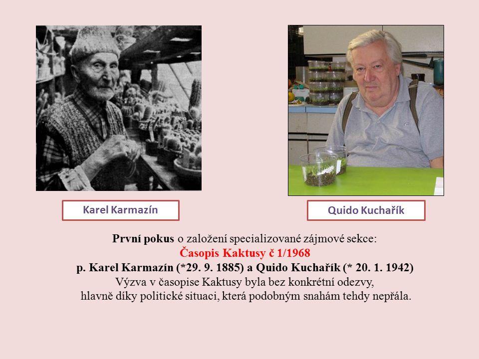 První pokus o založení specializované zájmové sekce: Časopis Kaktusy č 1/1968 p.