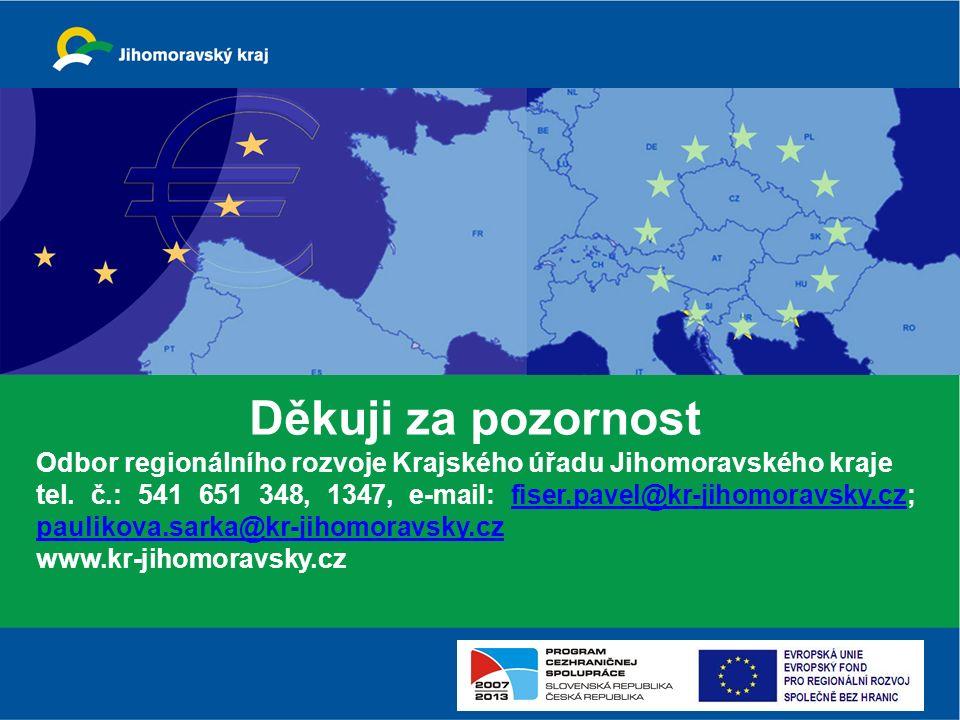 Děkuji za pozornost Odbor regionálního rozvoje Krajského úřadu Jihomoravského kraje tel. č.: 541 651 348, 1347, e-mail: fiser.pavel@kr-jihomoravsky.cz