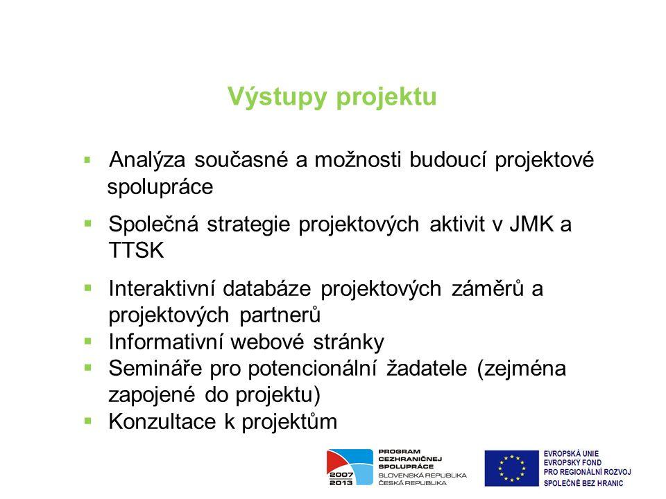 01 | 05 SPA JMK a TTSK 2014+ Výstupy projektu  Analýza současné a možnosti budoucí projektové spolupráce  Společná strategie projektových aktivit v