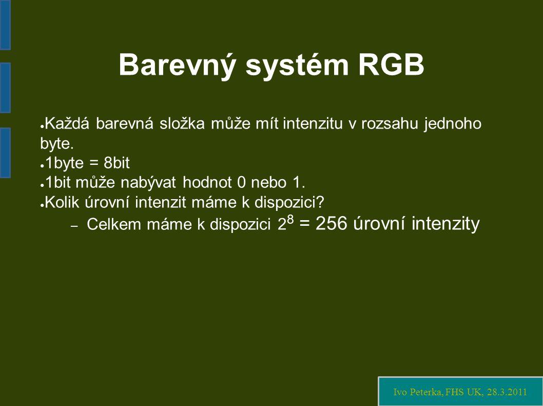 Ivo Peterka, FHS UK, 28.3.2011 Barevný systém RGB ● Každá barevná složka může mít intenzitu v rozsahu jednoho byte.