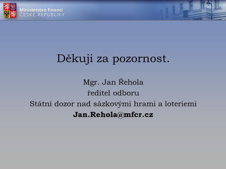 Děkuji za pozornost. Mgr. Jan Řehola ředitel odboru Státní dozor nad sázkovými hrami a loteriemi Jan.Rehola@mfcr.cz