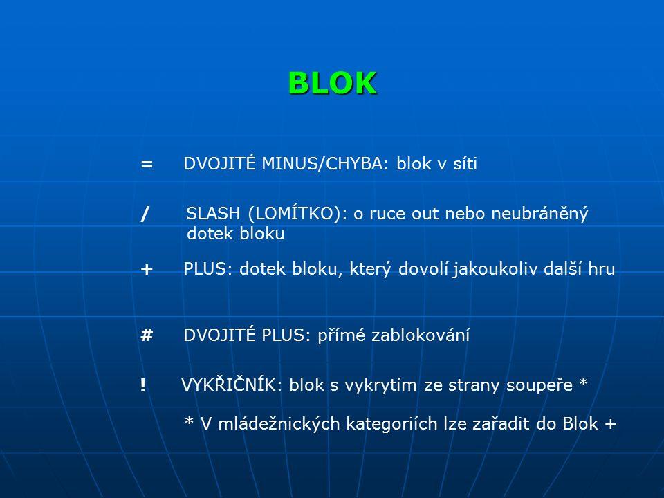 BLOK = DVOJITÉ MINUS/CHYBA: blok v síti / SLASH (LOMÍTKO): o ruce out nebo neubráněný dotek bloku + PLUS: dotek bloku, který dovolí jakoukoliv další h