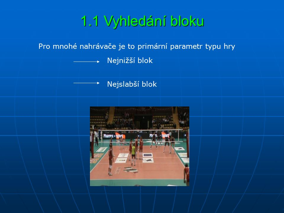 1.1 Vyhledání bloku Nejnižší blok Nejslabší blok Pro mnohé nahrávače je to primární parametr typu hry