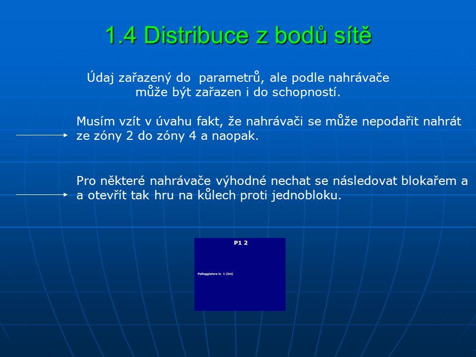 1.4 Distribuce z bodů sítě Musím vzít v úvahu fakt, že nahrávači se může nepodařit nahrát ze zóny 2 do zóny 4 a naopak. Údaj zařazený do parametrů, al
