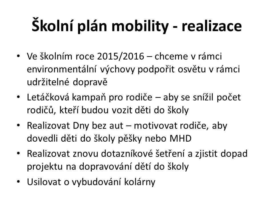 Školní plán mobility - realizace Ve školním roce 2015/2016 – chceme v rámci environmentální výchovy podpořit osvětu v rámci udržitelné dopravě Letáčko