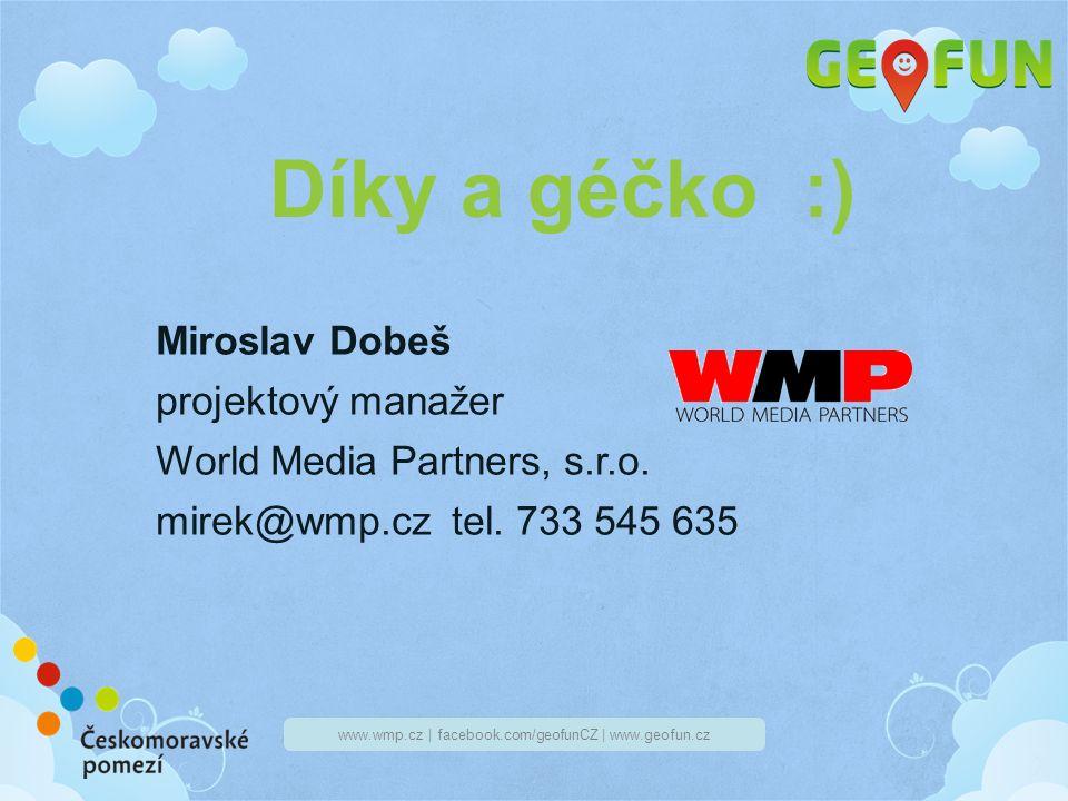 www.wmp.cz | facebook.com/geofunCZ | www.geofun.cz Díky a géčko :) Miroslav Dobeš projektový manažer World Media Partners, s.r.o.