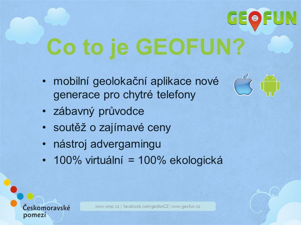 www.wmp.cz | facebook.com/geofunCZ | www.geofun.cz Vedení GEOFUNu Bohuslav Geofotr – otec a tvůrce hry, spravuje webové stránky, Facebook, vše organizuje má několik přátel, kteří jsou průvodci pro daná města, regiony,...