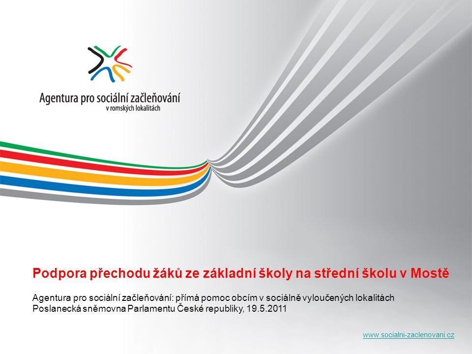 www.socialni-zaclenovani.cz Podpora přechodu žáků ze základní školy na střední školu v Mostě Agentura pro sociální začleňování: přímá pomoc obcím v so