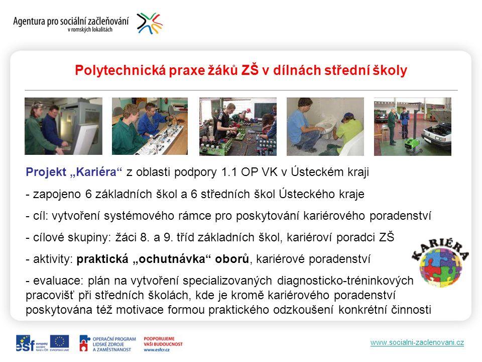 """www.socialni-zaclenovani.cz Polytechnická praxe žáků ZŠ v dílnách střední školy Projekt """"Kariéra"""" z oblasti podpory 1.1 OP VK v Ústeckém kraji - zapoj"""