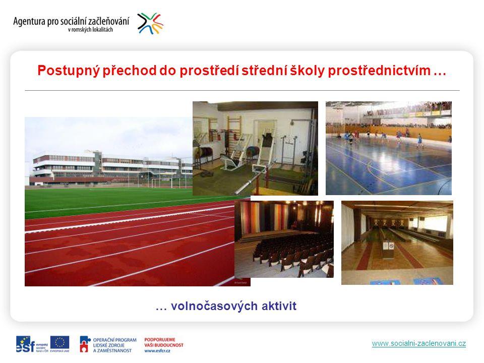 www.socialni-zaclenovani.cz Postupný přechod do prostředí střední školy prostřednictvím … … volnočasových aktivit