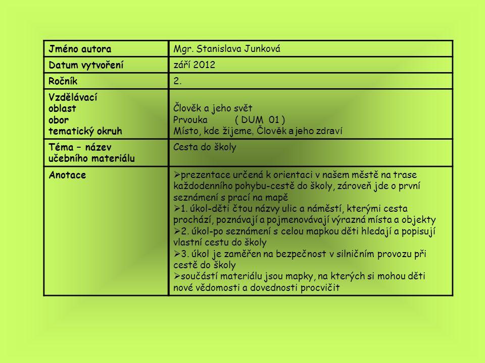 Jméno autoraMgr. Stanislava Junková Datum vytvořenízáří 2012 Ročník2. Vzdělávací oblast obor tematický okruh Člověk a jeho svět Prvouka ( DUM 01 ) Mís