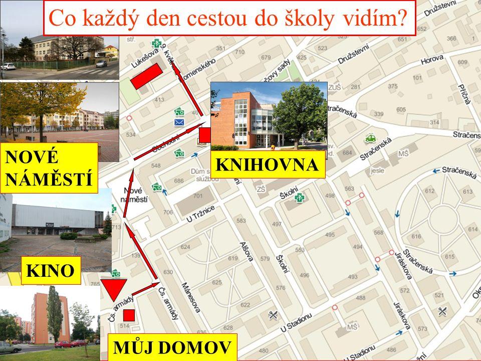 KNIHOVNA ZŠ T. G. MASARYKA MŮJ DOMOV Co každý den cestou do školy vidím? KINO NOVÉ NÁMĚSTÍ