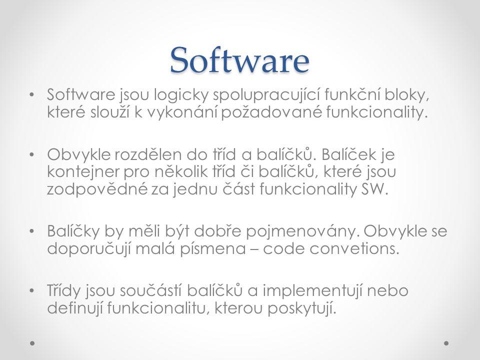 Software Software jsou logicky spolupracující funkční bloky, které slouží k vykonání požadované funkcionality.