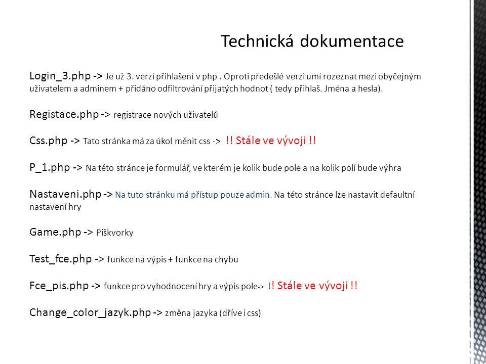 Technická dokumentace - algoritmy