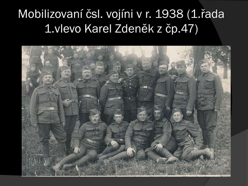 Mobilizovaní čsl. vojíni v r. 1938 (1.řada 1.vlevo Karel Zdeněk z čp.47)