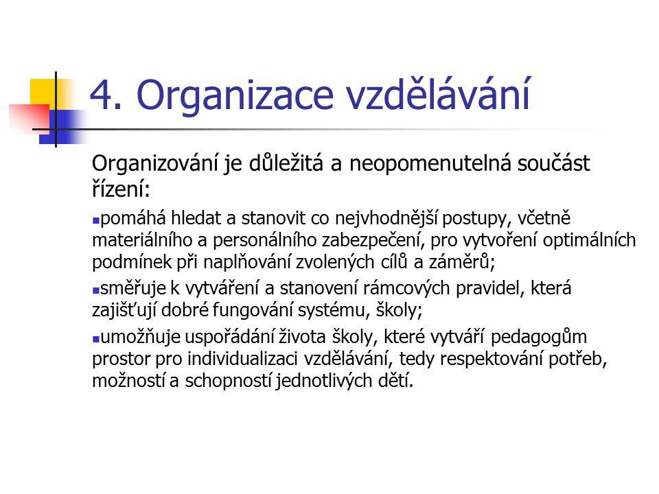 4. Organizace vzdělávání Organizování je důležitá a neopomenutelná součást řízení: pomáhá hledat a stanovit co nejvhodnější postupy, včetně materiální