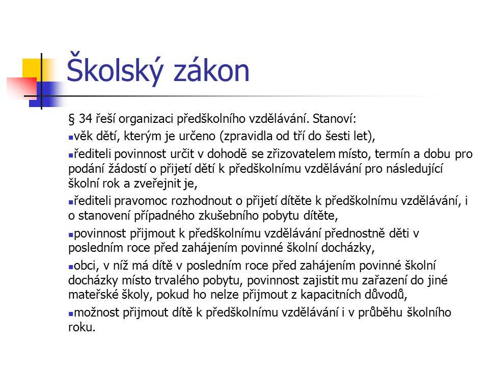 Školský zákon § 34 řeší organizaci předškolního vzdělávání.