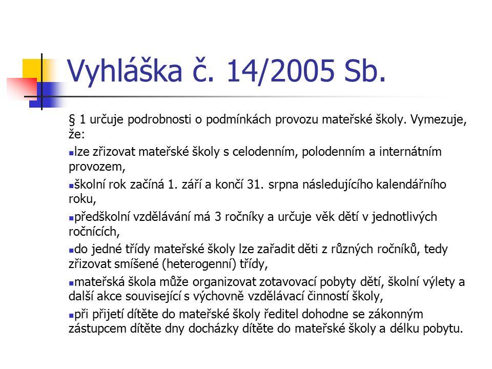 Vyhláška č. 14/2005 Sb. § 1 určuje podrobnosti o podmínkách provozu mateřské školy.