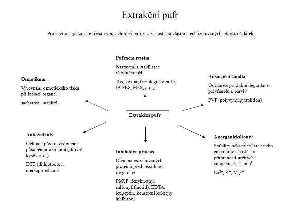 Extrakční pufr Pro každou aplikaci je třeba vybrat vhodný pufr v závislosti na vlastnostech izolovaných objektů či látek Osmotikum Vyrovnání osmotického tlaku při izolaci organel sacharosa, manitol Extrakční pufr Pufrační systém Nastavení a stabilitace vhodného pH Tris, fosfát, fyziologické pufry (PIPES, MES, atd.) Adsorpční činidla Odtranění produktů degradace polyfenolů a barviv PVP (polyvynylpyrrolidon) Antioxidanty Ochrana před nežádoucím působením oxidantů (aktivní kyslík atd.) DTT (dithiotreitol), merkaptoethanol Inhibitory proteas Ochrana extrahovaných proteinů před nežádoucí degradací PMSF (fenylmethyl sulfonyflfluorid), EDTA, leupeptin, komerční koktejly inhibitorů Anorganické ionty Stability některých látek nebo enzymů je závislá na přítomnosti určitých anoganických iontů Ca 2+, K +, Mg 2+