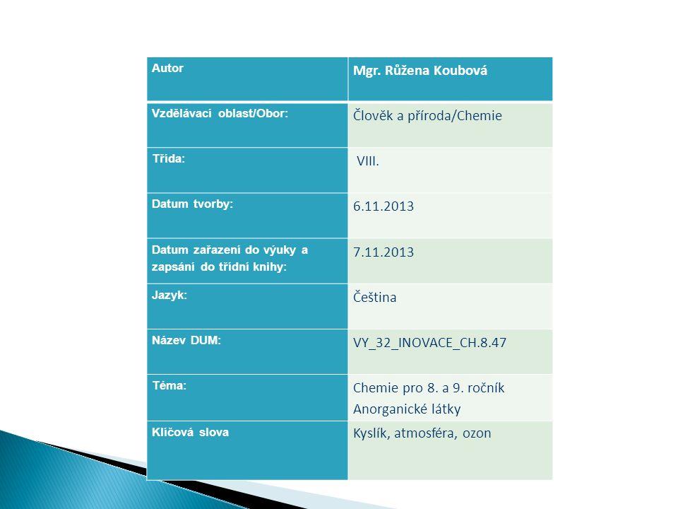 Autor Mgr. Růžena Koubová Vzdělávací oblast/Obor: Člověk a příroda/Chemie Třída: VIII. Datum tvorby: 6.11.2013 Datum zařazení do výuky a zapsání do tř