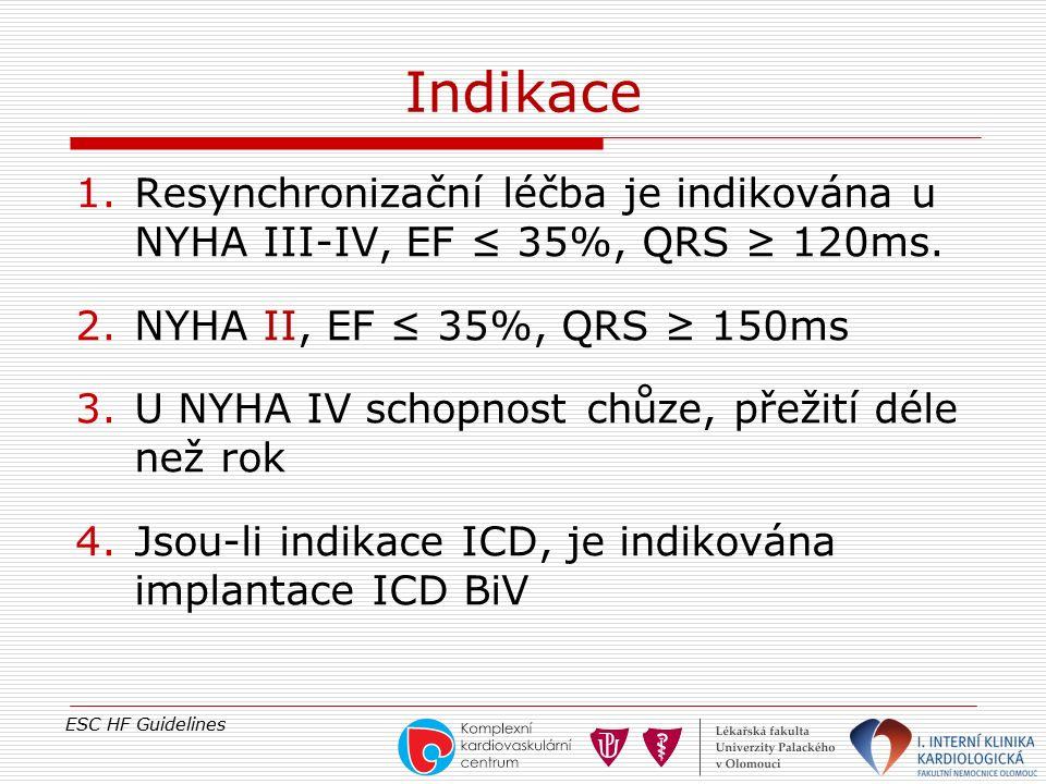 Indikace 1.Resynchronizační léčba je indikována u NYHA III-IV, EF ≤ 35%, QRS ≥ 120ms. 2.NYHA II, EF ≤ 35%, QRS ≥ 150ms 3.U NYHA IV schopnost chůze, př