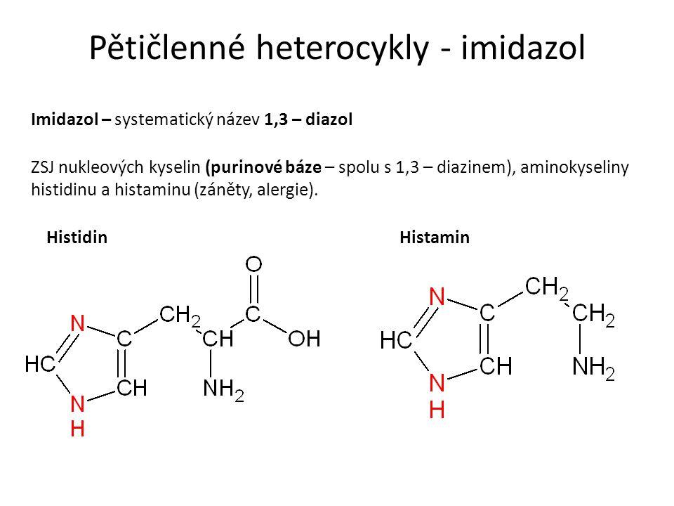 Pětičlenné heterocykly - imidazol Imidazol – systematický název 1,3 – diazol ZSJ nukleových kyselin (purinové báze – spolu s 1,3 – diazinem), aminokyseliny histidinu a histaminu (záněty, alergie).
