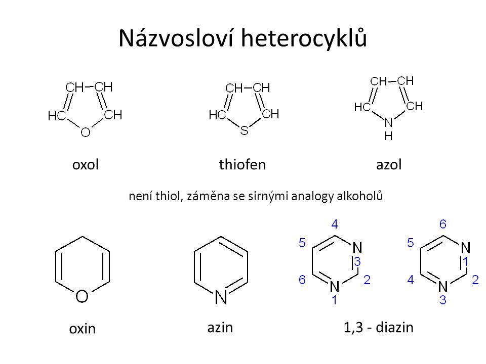 Názvosloví heterocyklů oxolthiofen není thiol, záměna se sirnými analogy alkoholů azol oxin azin1,3 - diazin
