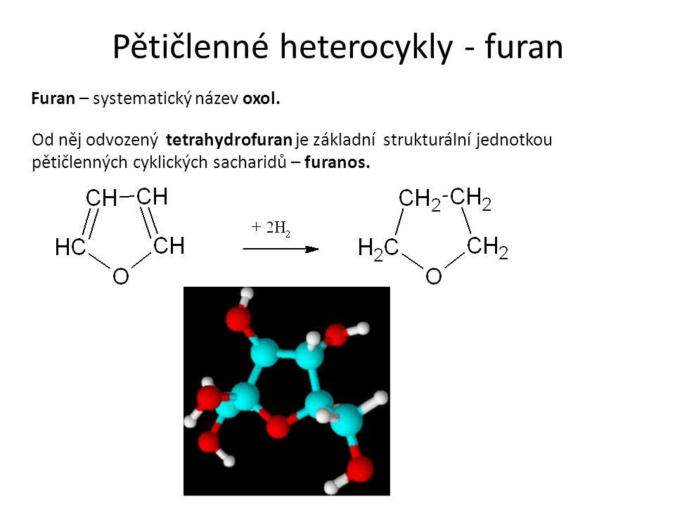 Pětičlenné heterocykly - furan Furan – systematický název oxol.