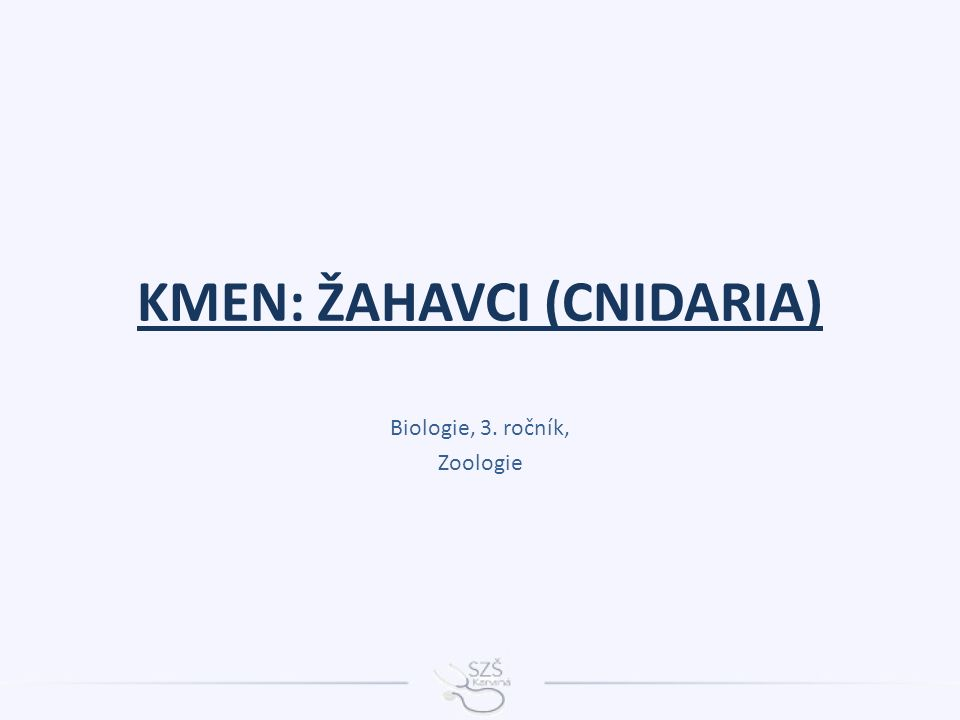 KMEN: ŽAHAVCI (CNIDARIA) Biologie, 3. ročník, Zoologie