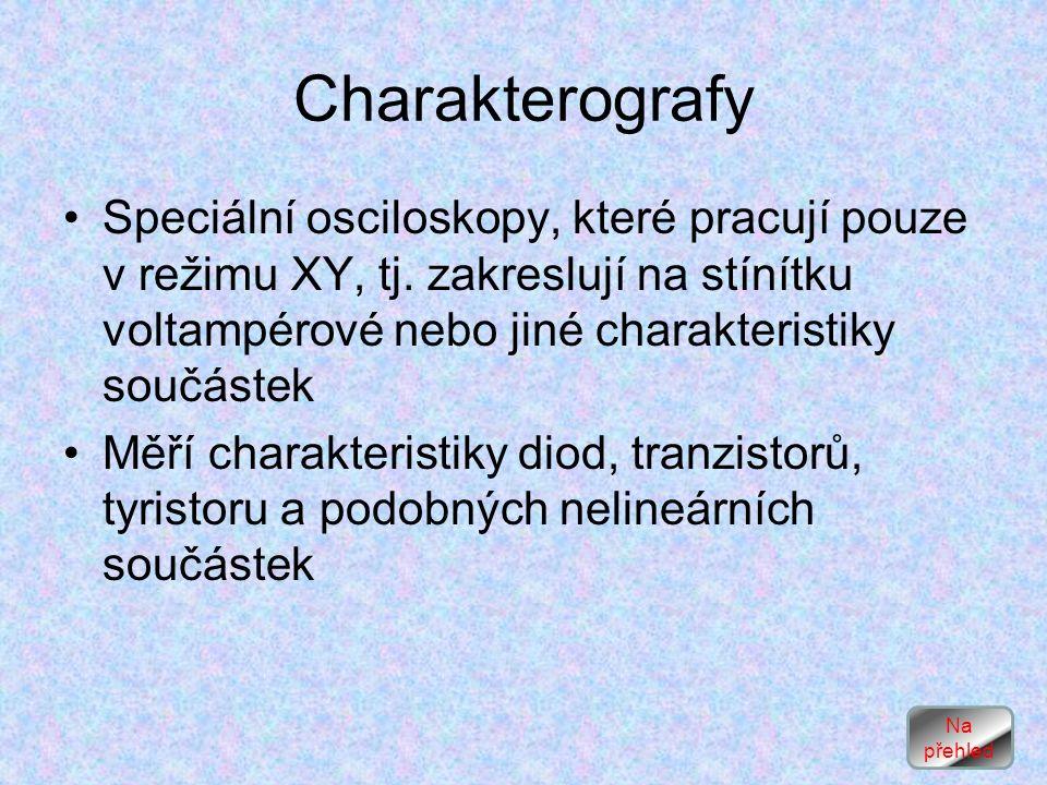 Charakterografy Speciální osciloskopy, které pracují pouze v režimu XY, tj.