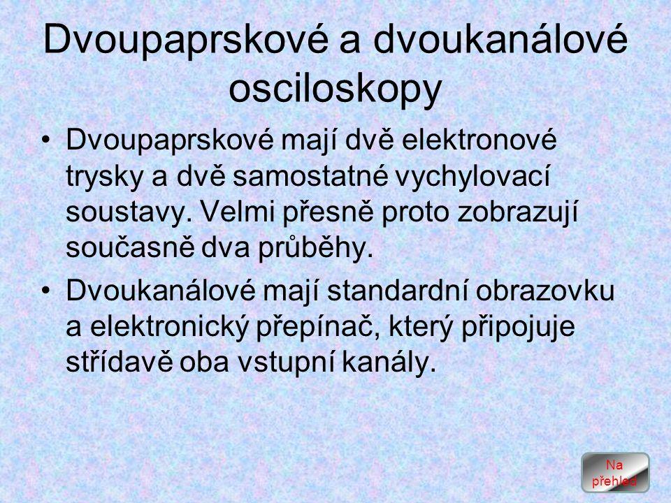 Dvoupaprskové a dvoukanálové osciloskopy Dvoupaprskové mají dvě elektronové trysky a dvě samostatné vychylovací soustavy.