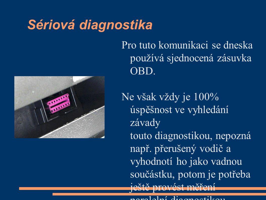 Sériová diagnostika Pro tuto komunikaci se dneska používá sjednocená zásuvka OBD. Ne však vždy je 100% úspěšnost ve vyhledání závady touto diagnostiko