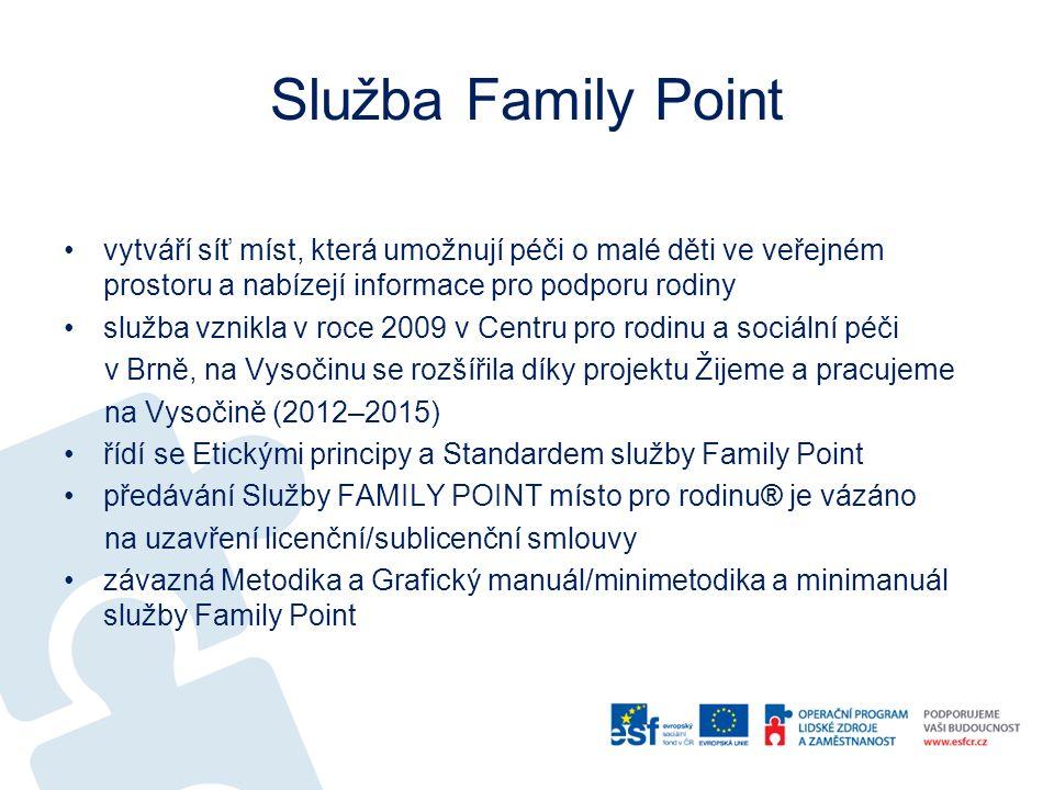 Služba Family Point vytváří síť míst, která umožnují péči o malé děti ve veřejném prostoru a nabízejí informace pro podporu rodiny služba vznikla v roce 2009 v Centru pro rodinu a sociální péči v Brně, na Vysočinu se rozšířila díky projektu Žijeme a pracujeme na Vysočině (2012–2015) řídí se Etickými principy a Standardem služby Family Point předávání Služby FAMILY POINT místo pro rodinu® je vázáno na uzavření licenční/sublicenční smlouvy závazná Metodika a Grafický manuál/minimetodika a minimanuál služby Family Point