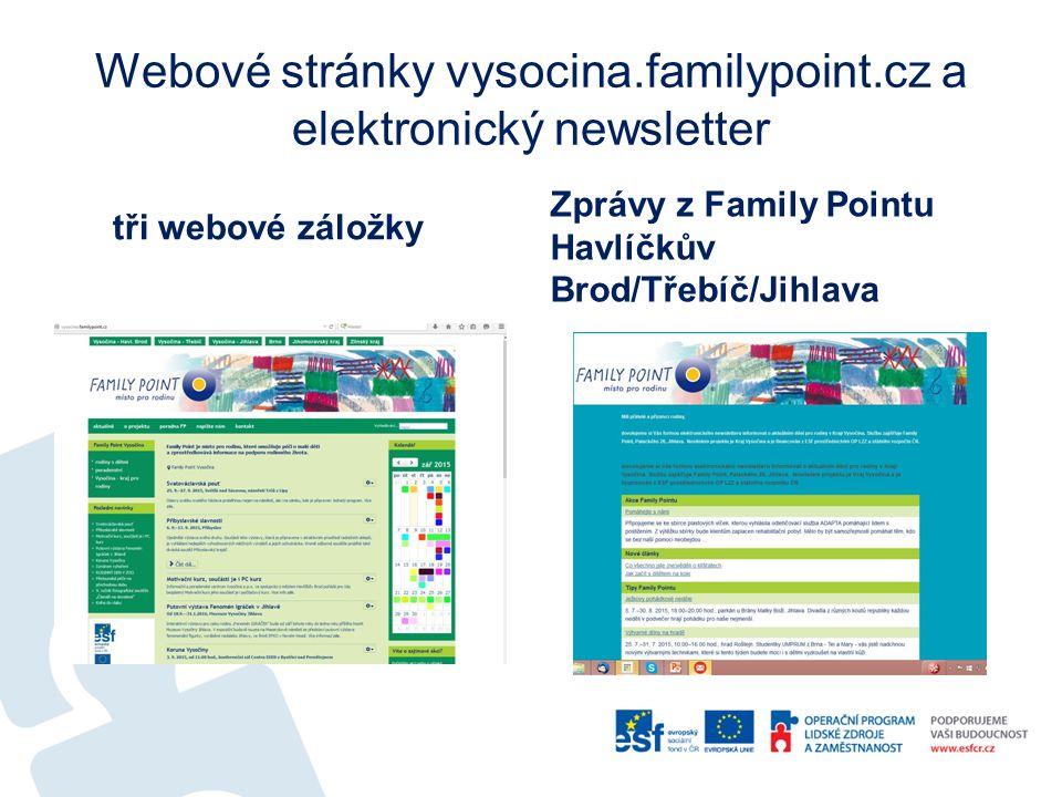 Webové stránky vysocina.familypoint.cz a elektronický newsletter tři webové záložky Zprávy z Family Pointu Havlíčkův Brod/Třebíč/Jihlava